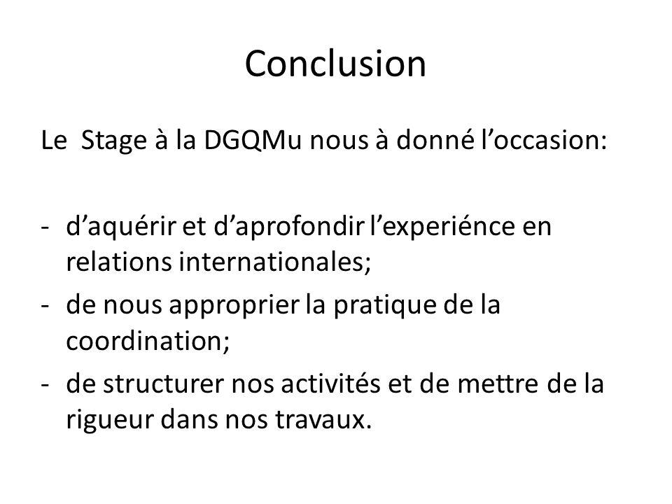 Conclusion Le Stage à la DGQMu nous à donné l'occasion: