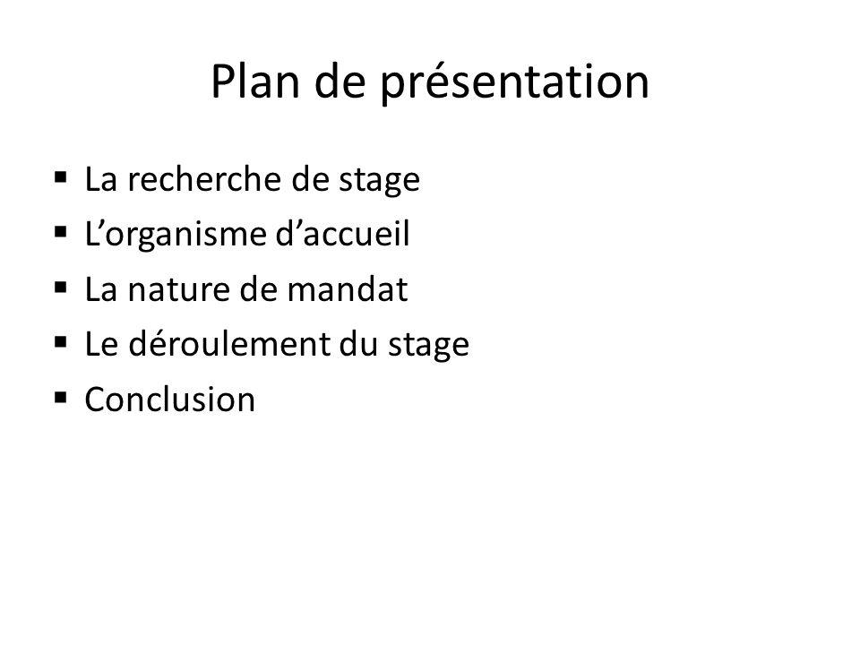 Plan de présentation La recherche de stage L'organisme d'accueil