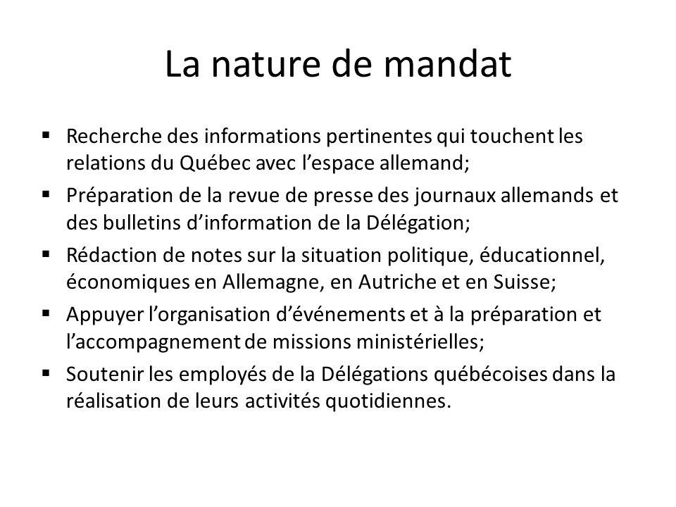 La nature de mandat Recherche des informations pertinentes qui touchent les relations du Québec avec l'espace allemand;