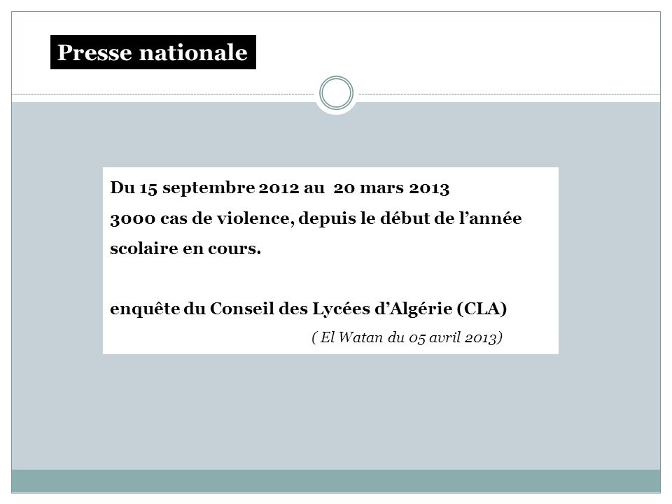 Presse nationale Du 15 septembre 2012 au 20 mars 2013