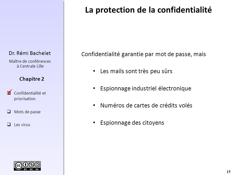 La protection de la confidentialité