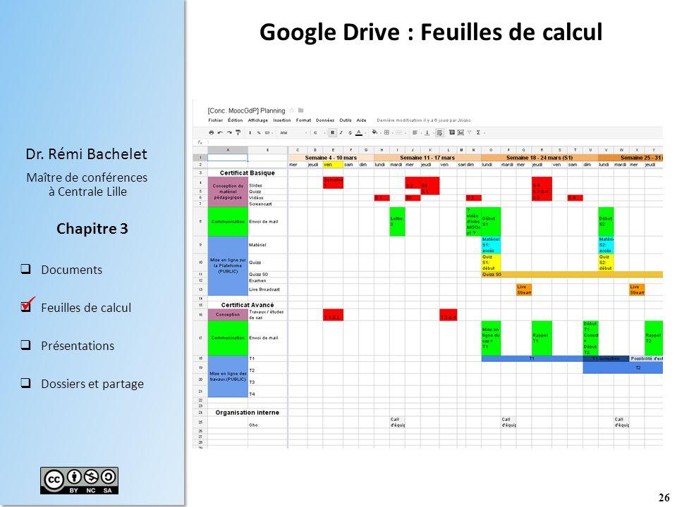 Google Drive : Feuilles de calcul