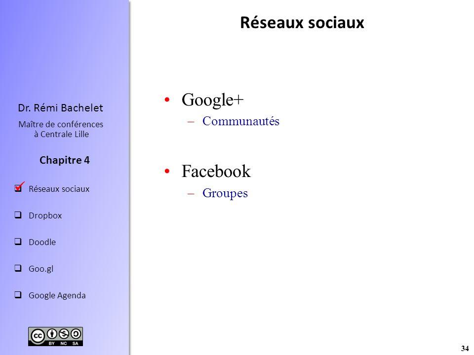 Réseaux sociaux Google+ Facebook  Communautés Groupes