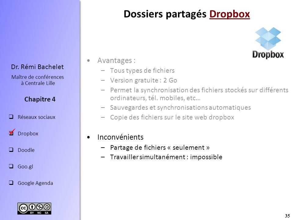 Dossiers partagés Dropbox