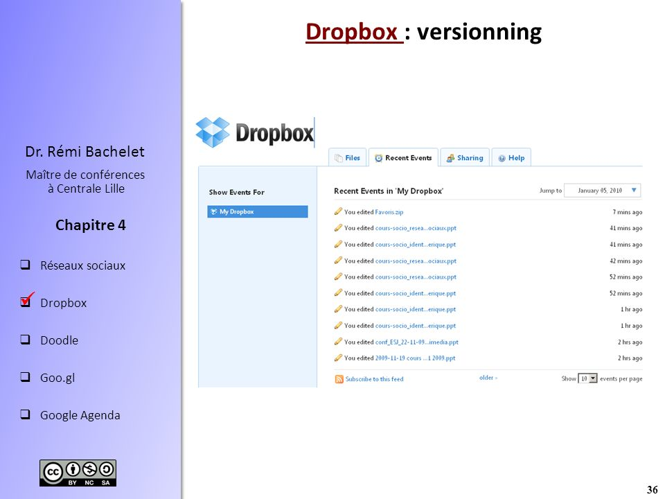 Dropbox : versionning 
