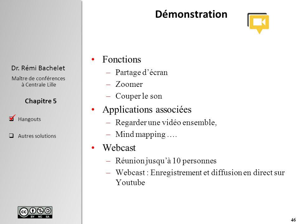 Démonstration Fonctions Applications associées Webcast 