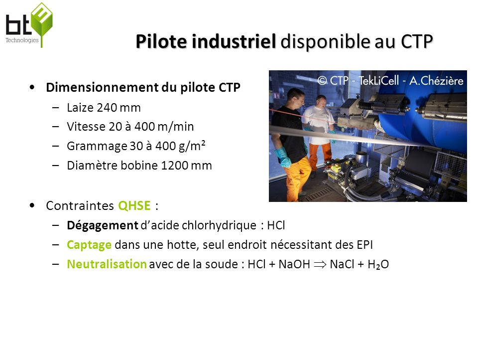 Pilote industriel disponible au CTP