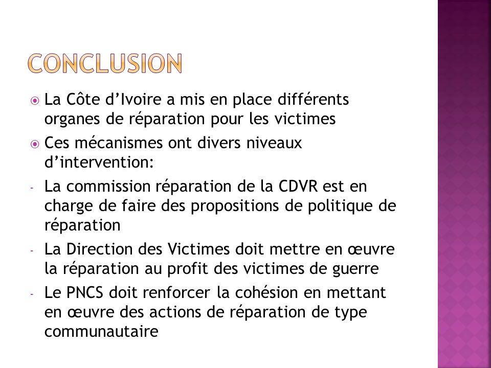 CONCLUSION La Côte d'Ivoire a mis en place différents organes de réparation pour les victimes. Ces mécanismes ont divers niveaux d'intervention: