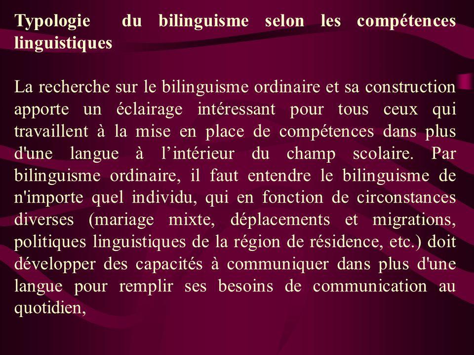 Typologie du bilinguisme selon les compétences linguistiques