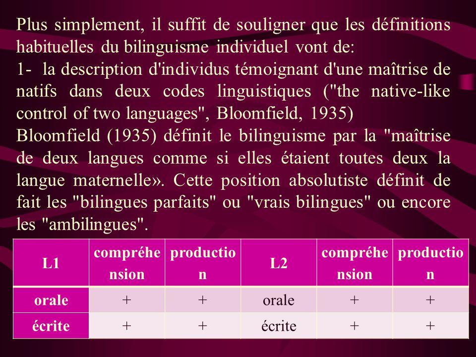 Plus simplement, il suffit de souligner que les définitions habituelles du bilinguisme individuel vont de: