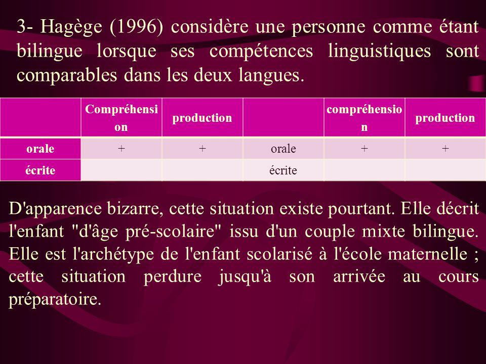 3- Hagège (1996) considère une personne comme étant bilingue lorsque ses compétences linguistiques sont comparables dans les deux langues.