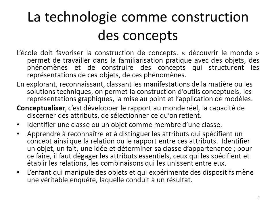 La technologie comme construction des concepts