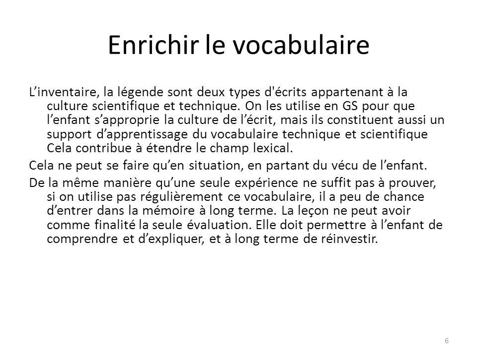 Enrichir le vocabulaire