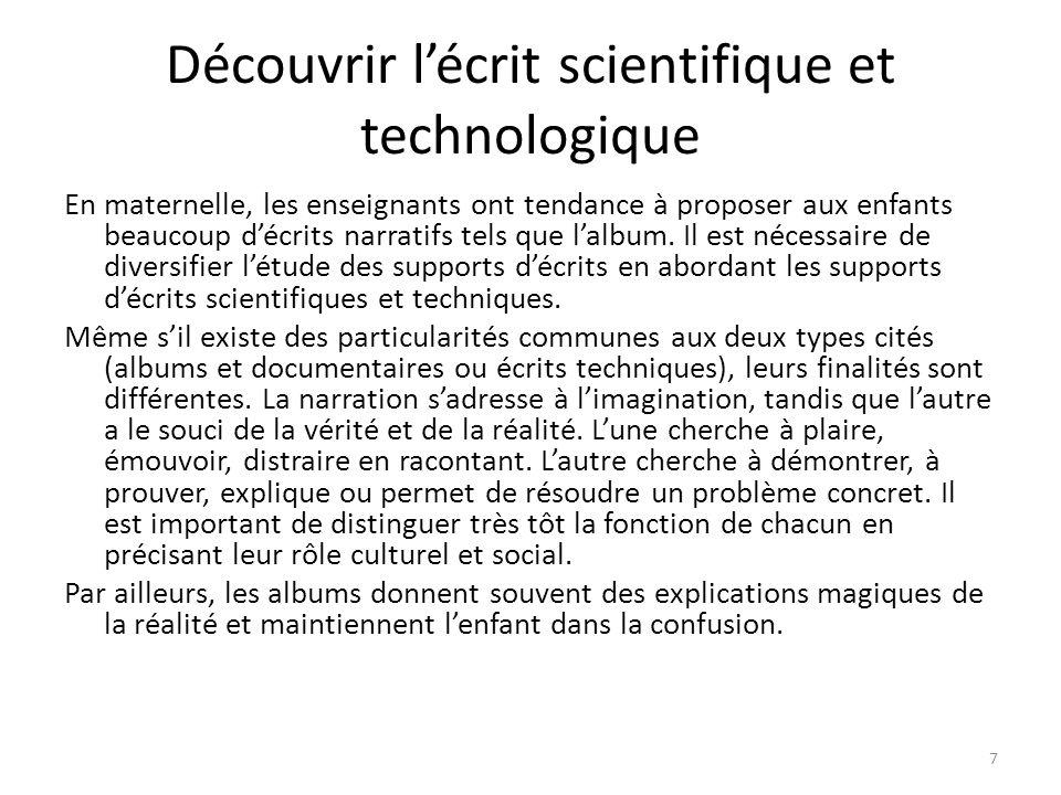 Découvrir l'écrit scientifique et technologique