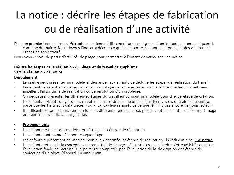 La notice : décrire les étapes de fabrication ou de réalisation d'une activité