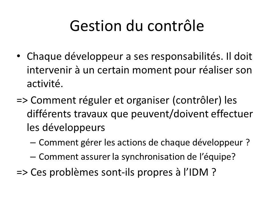 Gestion du contrôle Chaque développeur a ses responsabilités. Il doit intervenir à un certain moment pour réaliser son activité.