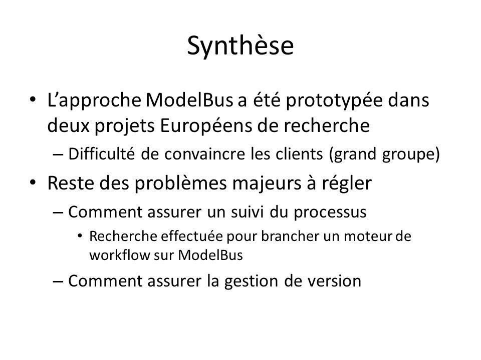 SynthèseL'approche ModelBus a été prototypée dans deux projets Européens de recherche. Difficulté de convaincre les clients (grand groupe)