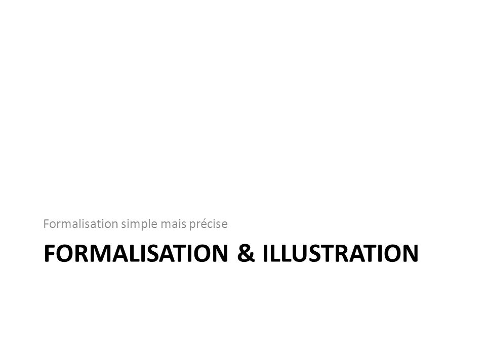 Formalisation & Illustration