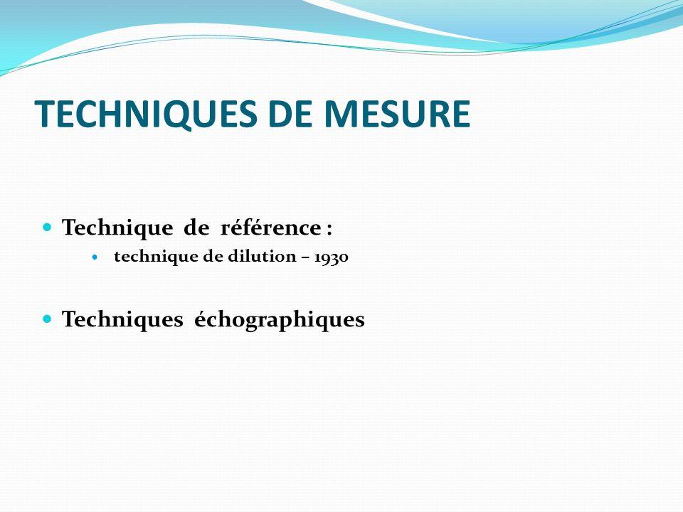 TECHNIQUES DE MESURE Technique de référence :