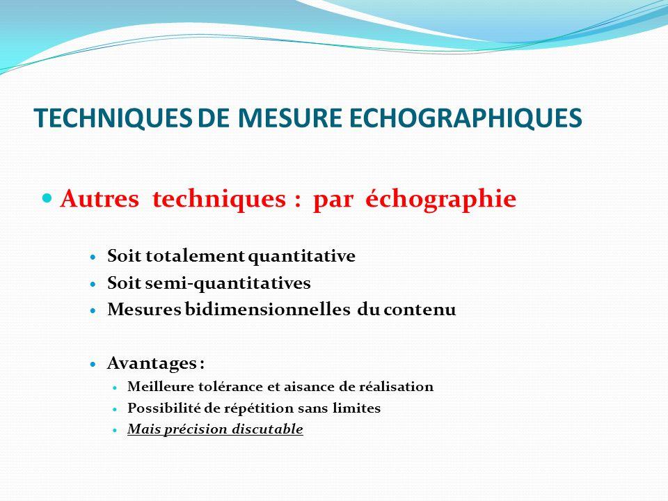 TECHNIQUES DE MESURE ECHOGRAPHIQUES