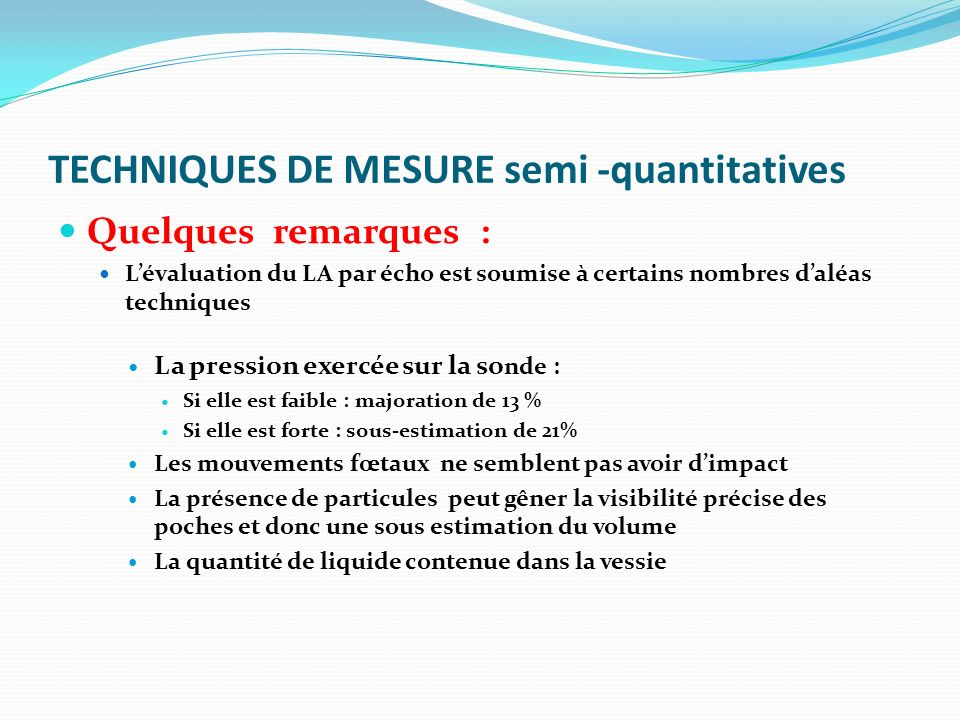 TECHNIQUES DE MESURE semi -quantitatives