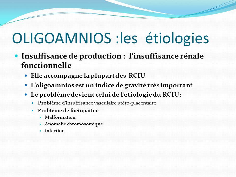 OLIGOAMNIOS :les étiologies