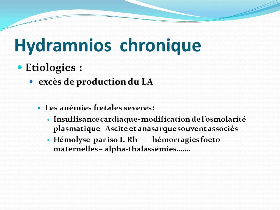 Hydramnios chronique Etiologies : excès de production du LA