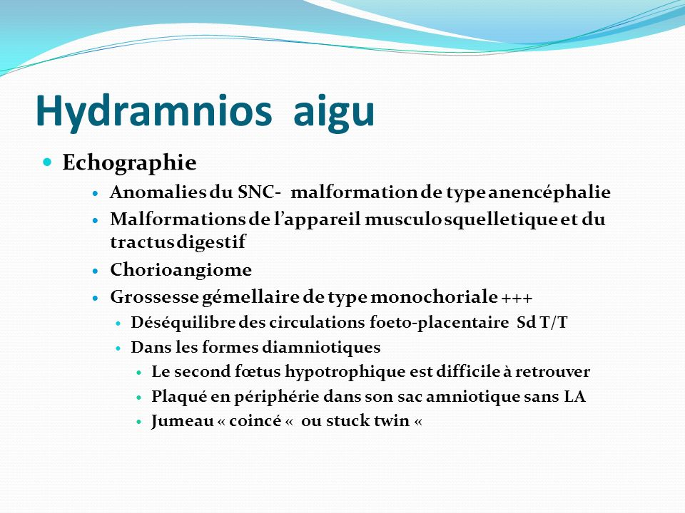 Hydramnios aigu Echographie