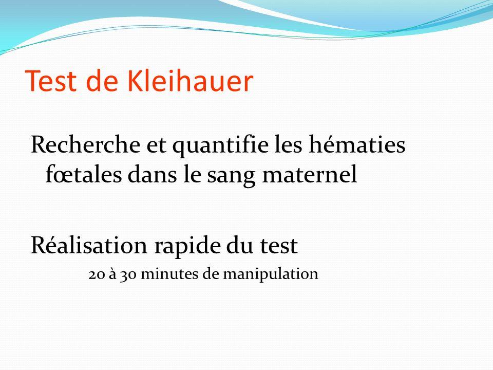 Test de Kleihauer Recherche et quantifie les hématies fœtales dans le sang maternel. Réalisation rapide du test.