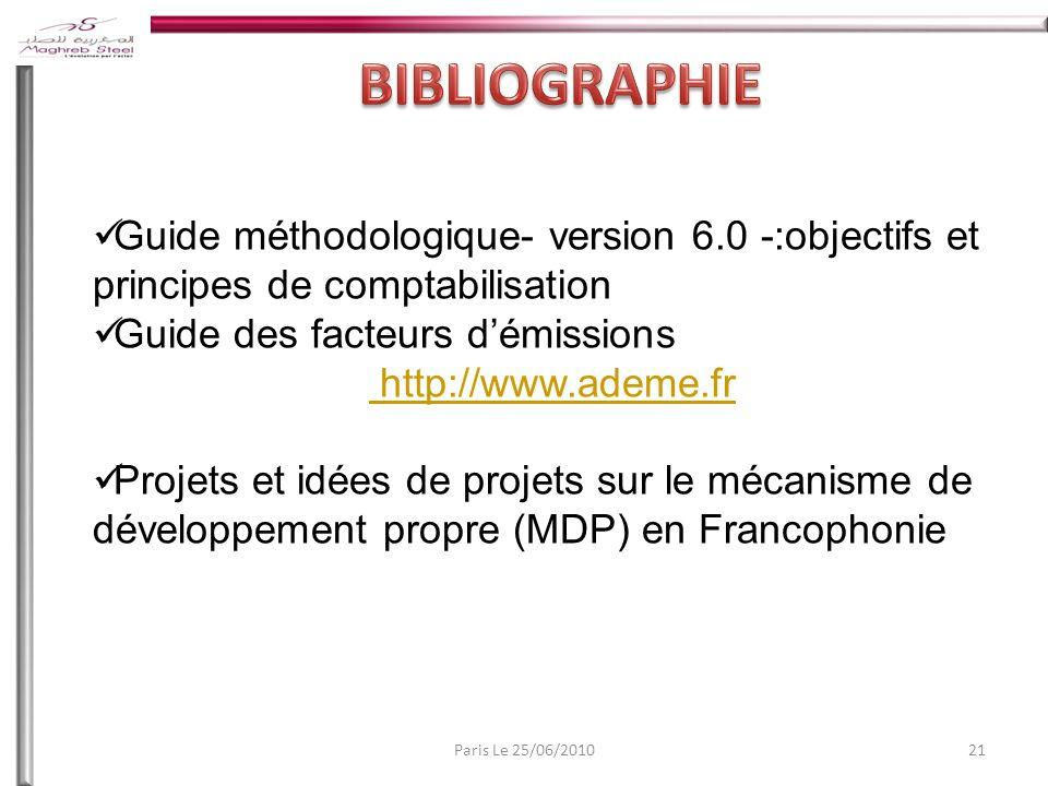 BIBLIOGRAPHIE Guide méthodologique- version 6.0 -:objectifs et principes de comptabilisation. Guide des facteurs d'émissions.