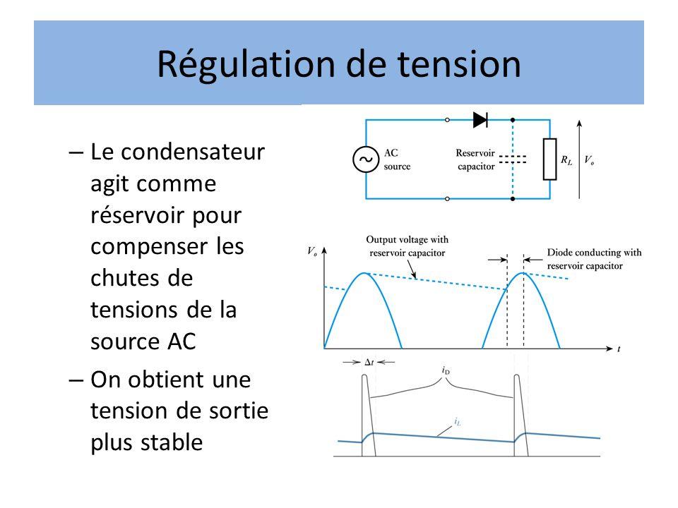 Régulation de tension Le condensateur agit comme réservoir pour compenser les chutes de tensions de la source AC.