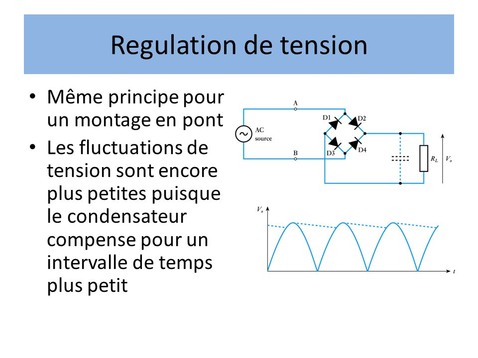 Regulation de tension Même principe pour un montage en pont