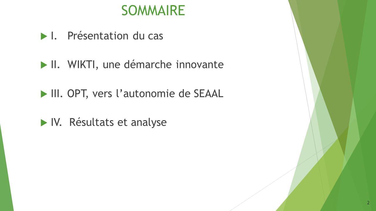 SOMMAIRE I. Présentation du cas II. WIKTI, une démarche innovante