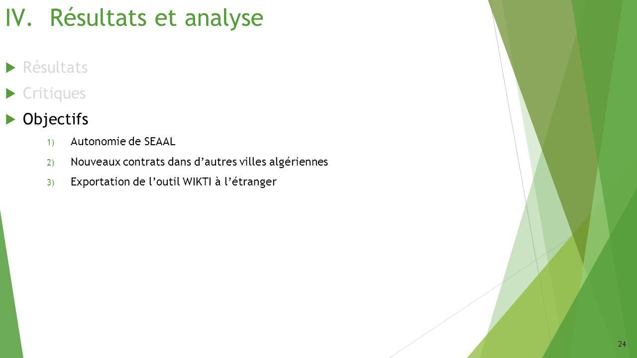 Résultats et analyse Résultats Critiques Objectifs Autonomie de SEAAL