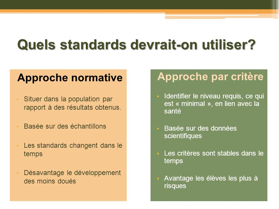 Quels standards devrait-on utiliser