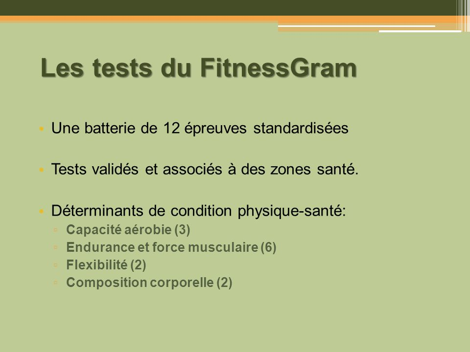 Les tests du FitnessGram