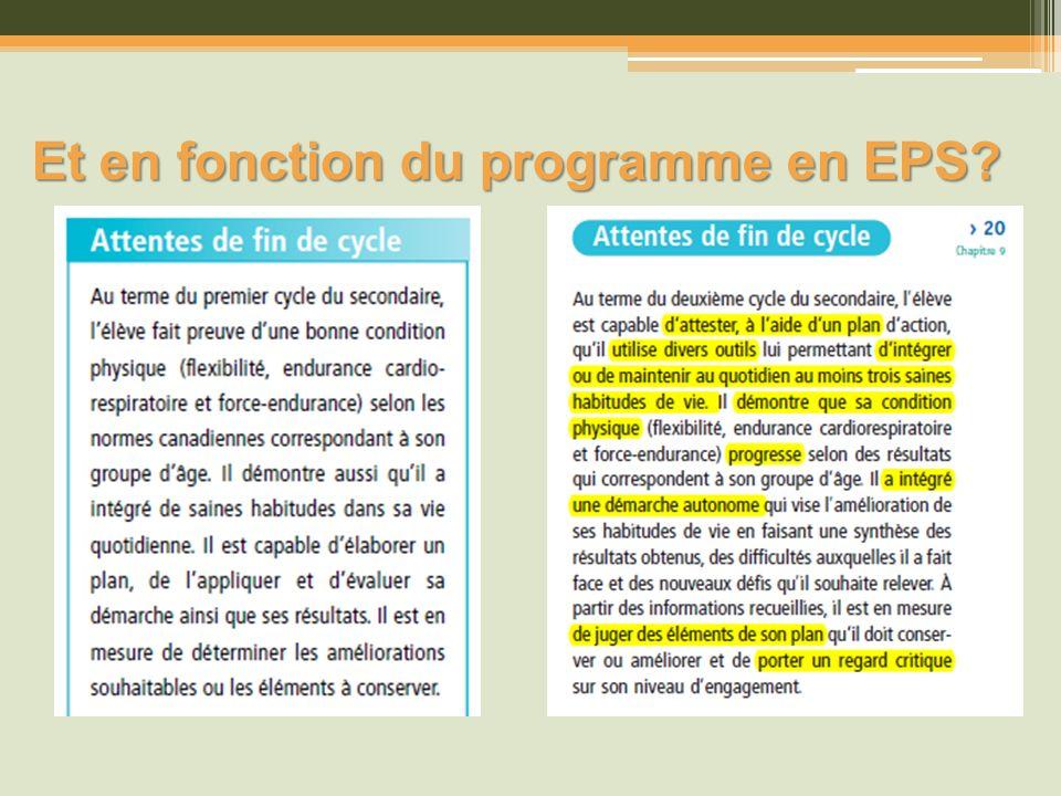 Et en fonction du programme en EPS