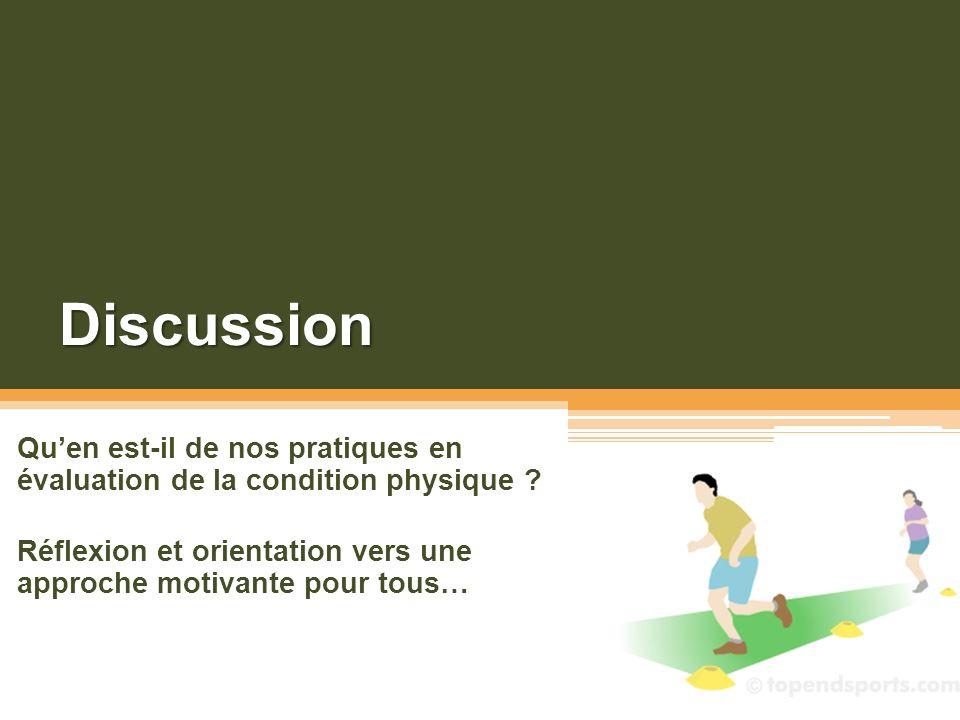 Discussion Qu'en est-il de nos pratiques en évaluation de la condition physique .