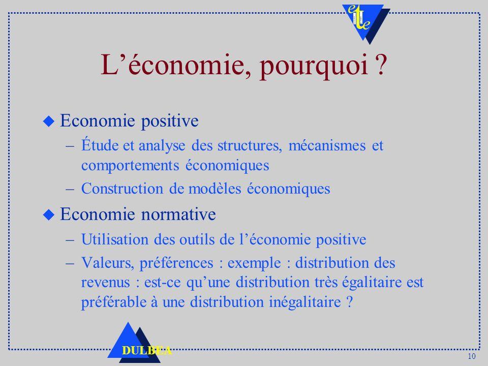 L'économie, pourquoi Economie positive Economie normative