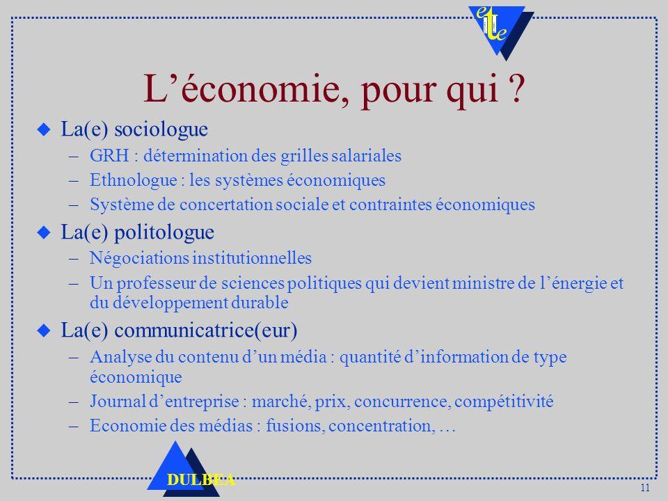 L'économie, pour qui La(e) sociologue La(e) politologue