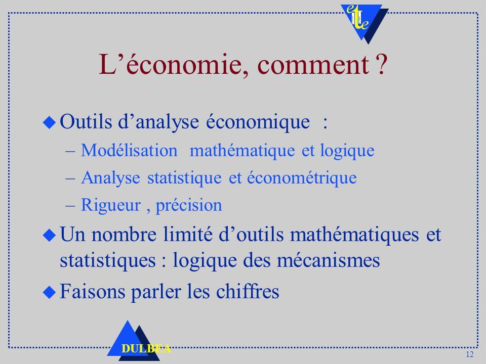 L'économie, comment Outils d'analyse économique :