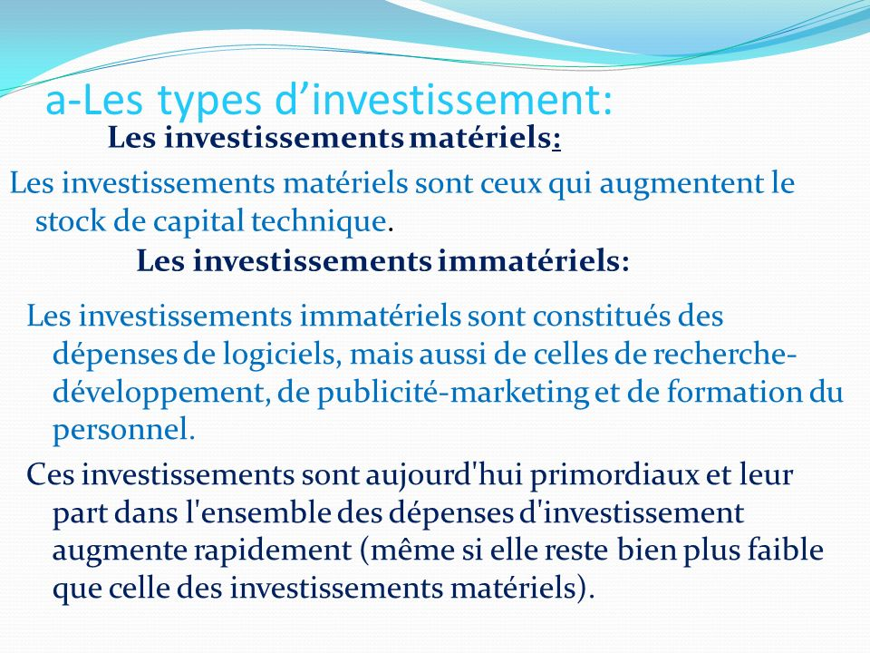 a-Les types d'investissement: