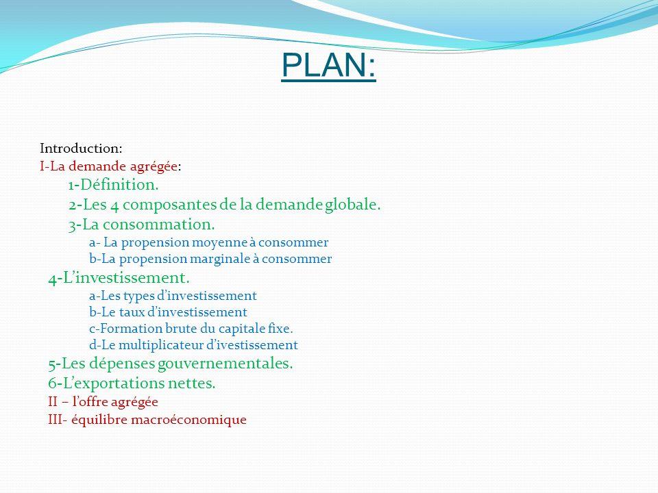 PLAN: 4-L'investissement. 1-Définition.