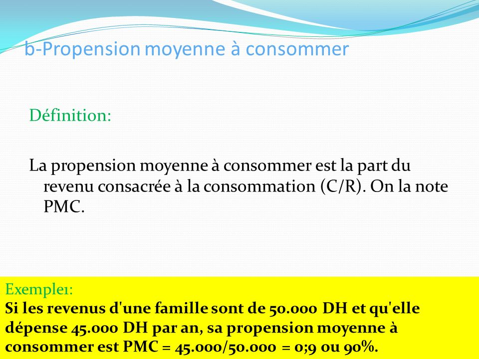 b-Propension moyenne à consommer
