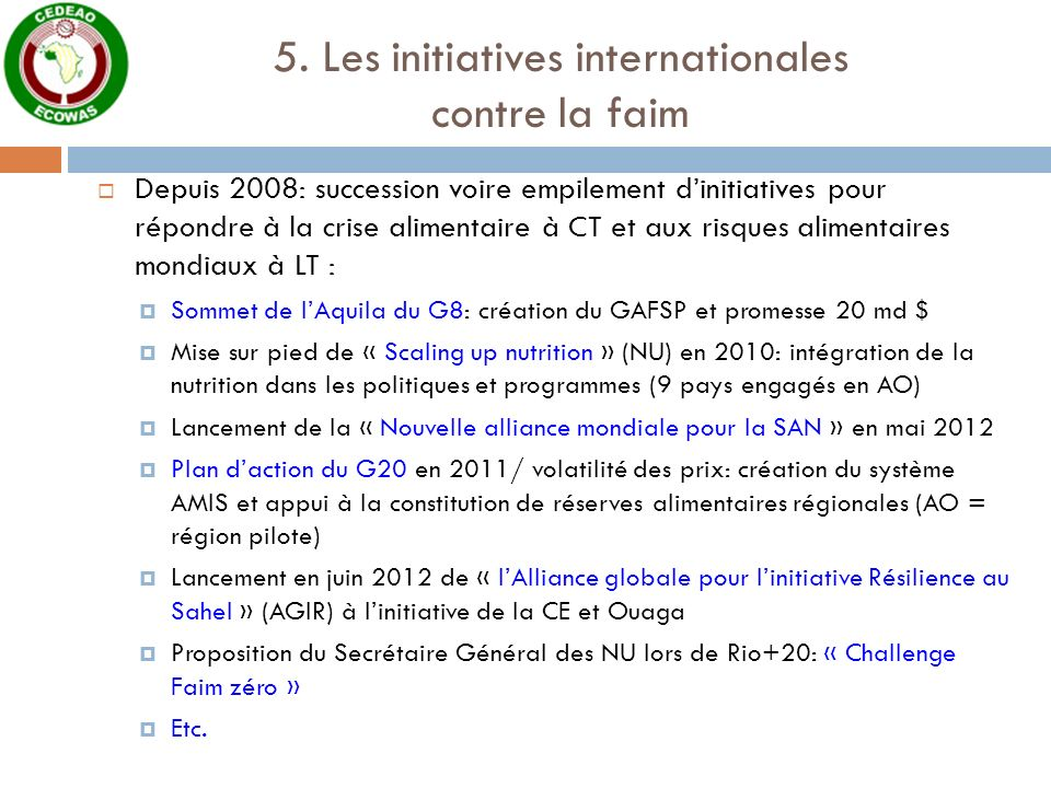 5. Les initiatives internationales contre la faim