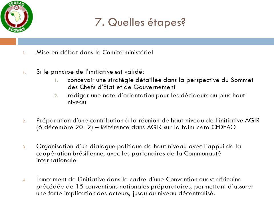 7. Quelles étapes Mise en débat dans le Comité ministériel