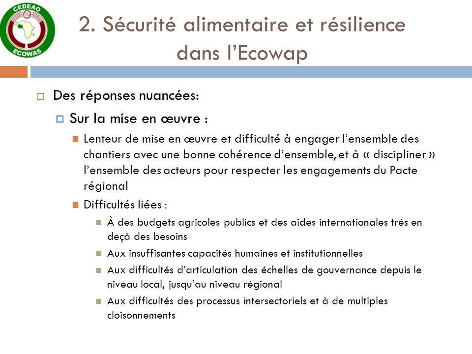 2. Sécurité alimentaire et résilience dans l'Ecowap
