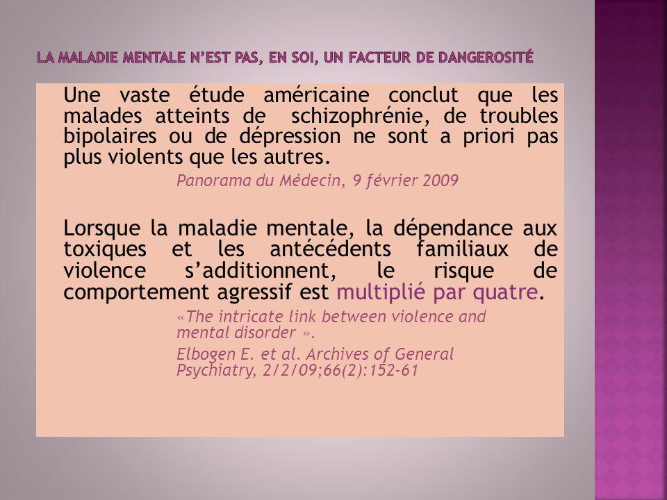 La maladie mentale n'est pas, en soi, un facteur de dangerosité