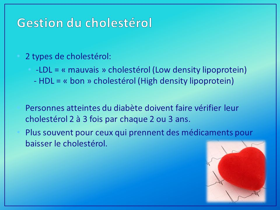 Gestion du cholestérol