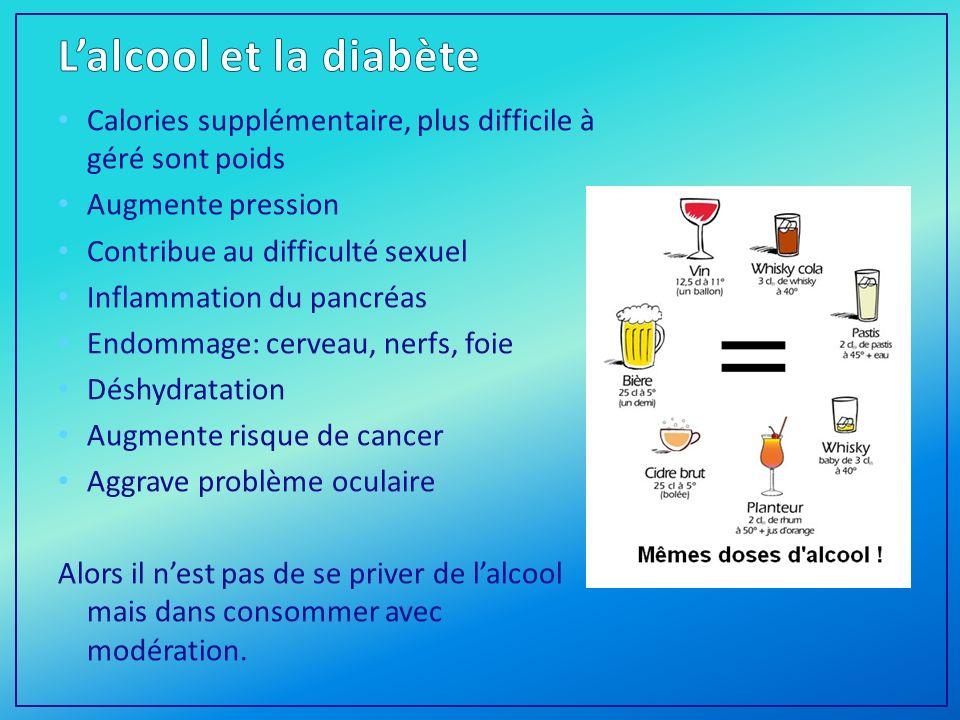 L'alcool et la diabète Calories supplémentaire, plus difficile à géré sont poids. Augmente pression.